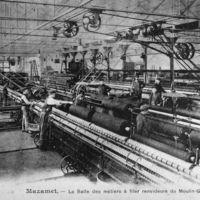 Carte postale : La salle des métiers à filer renvideurs