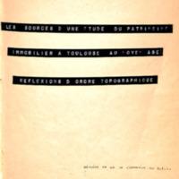 Les sources d'une étude du patrimoine immobilier à Toulouse au Moyen Age : réflexions d'ordre topographique