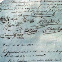 Signatures des membres du syndicat du canal : plan large