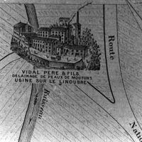 Carte 1896 : Vidal père et Fils. Délainage de peaux de moutons, usine sur le Linoubre
