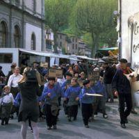 Mazamet, manifestation pour le centenaire (1909-2009) : tête de la manifestation vue de face