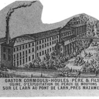 Carte 1896: Gaston Cormouls-Houlès, usine d'exploitation de peaux de moutons sur le Larn au pont de Larn