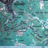 Carte IGN : Mazamet, la vallée de l'Arnette jusqu'au Moulin Maurel