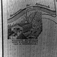Carte 1896 : Auguste Bénézech, usine et lavage de laine (sur le Rieussoule)