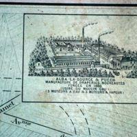 Carte 1896 : Alba-La-Source et Puech, manufacture de draperies – nouveautés fondée en 1860 (usine du Moulin Gau)