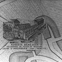 Carte 1896: Auguste Bénézech, délainage de peaux de moutons. Usine d'Inkermann (sur l'Arnette)