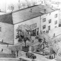 Dessin du Moulin Gau : l'entrée de l'usine