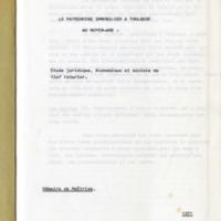 Le patrimoine immobilier à Toulouse au Moyen-Age : étude juridique, économique et sociale du fief roturier.