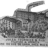 Carte 1896 : Jules Tournier et Fils, filature et apprêts, usine du Gué de Larn, près de Mazamet