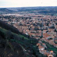 Vues de Mazamet depuis le Plo de la Bise : vue générale, avec le versant de la Montagne Noire