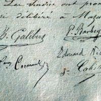 Signatures des membres du syndicat du canal : gros plan