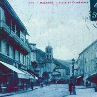Carte postale de Mazamet : le Cours et l'église de Saint-Sauveur